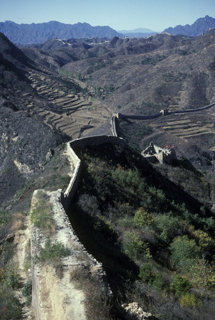 the great wall near the city of beijing in the east of china in east asia.