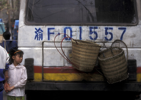 gorges: a bus in the village of Fengjie at the yangzee river in the three gorges valley up of the three gorges dam project in the province of hubei in china. Editorial