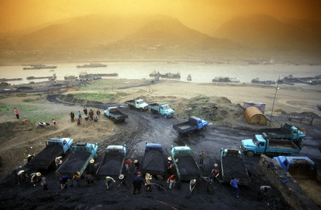 the coal workers in the village of Fengjie in the three gorges valley up of the three gorges dam project in the province of hubei in china.