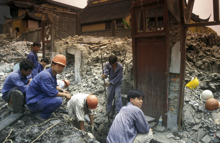migrant: working people in the construction in the City of Shanghai in China in east asia.