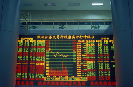 the stock exchange market in the city of Shenzhen north of Hong Kong in the province of Guangdong in China in east asia.