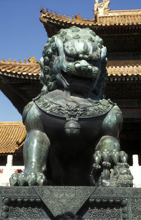 the forbidden city in the city of Beijing in the east of china in east asia.