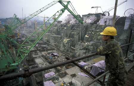 three gorges: the constructions work at the three gorges dam project on the river in the province of yangzi hubei in china. Editorial