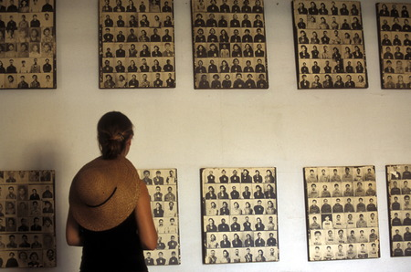 The Tuol Sleng Museum shows the history of the khmer rouge crime in the city of phnom penh cambodia in in Southeastasia. Editorial