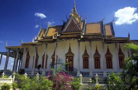 king palace: the Silver pagoda at the king palace in the city of phnom penh cambodia in in Southeastasia.