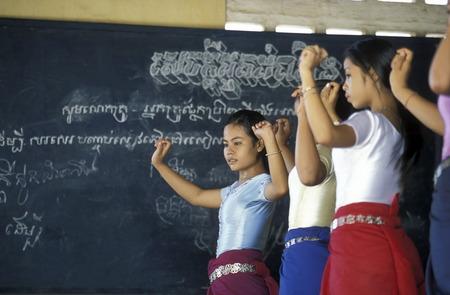 a apsara dance school in the city of phnom penh cambodia in in Southeastasia. Редакционное