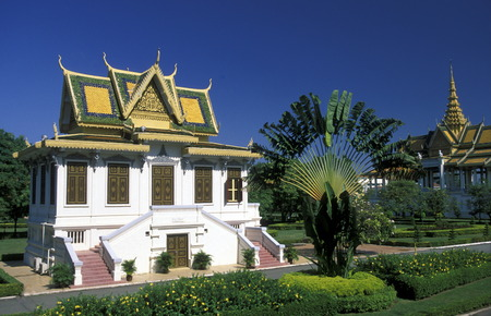 king palace: the king palace in the city of phnom penh cambodia in in Southeastasia.