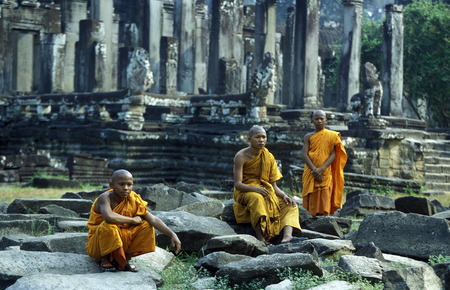 bayon: the Bayon temple in Angkor Thom temples in Angkor at the town of Siem Reap in cambodia in Southeastasia.