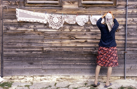a women in the old town of Nessebar on the coast of the Black sea in Bulgaria in east Europe.
