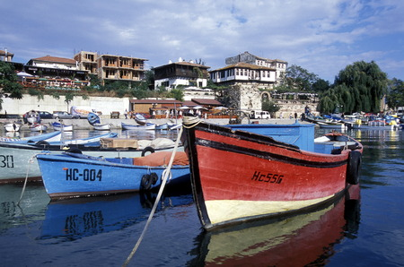 the harbor of the old town of Nessebar on the coast of the Black sea in Bulgaria in east Europe.