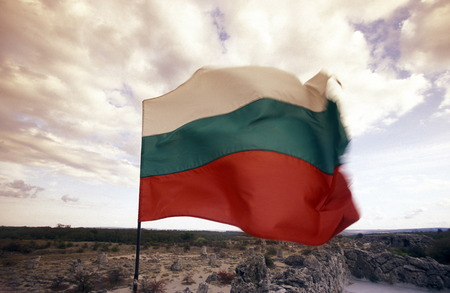 veliko: the army of Bulgaria with the Bulgaria flag at Fort of the city of Veliko Tarnovo in the north east of Bulgaria in Europe.
