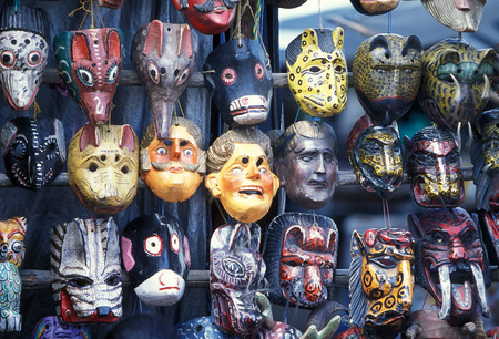 indios: a mask shop at the Market in the Village of  Chichi or Chichicastenango in Guatemala in central America. Stock Photo