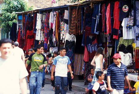 textil: a Market in the old city in the town of Antigua in Guatemala in central America.