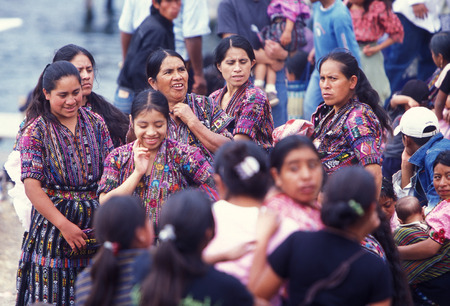 indios: people in traditional clotes at the Market in the Village of  Chichi or Chichicastenango in Guatemala in central America.