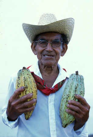 Mexican farmer with cacao beans at the church in the town of Esquipulas in Guatemala in central America.
