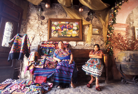 textil: A Shop in the old city in the town of Antigua in Guatemala in central America.