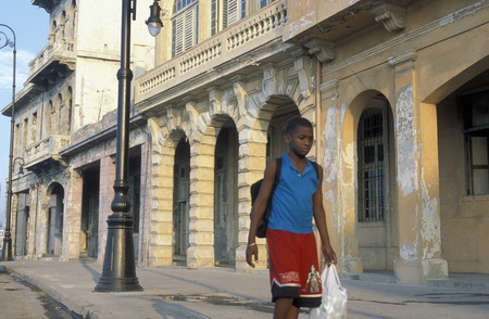 the Malecon road on the coast in the old townl of the city of Havana on Cuba in the caribbean sea