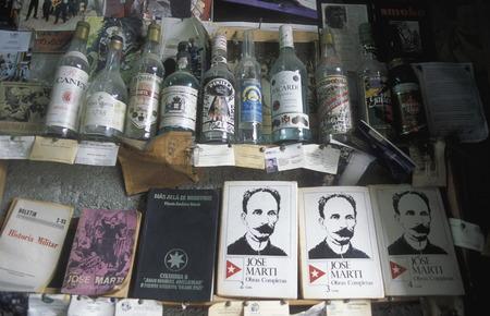 rhum: a book shop in the city centre in the city of Santiago de Cuba on Cuba in the caribbean sea. Editorial