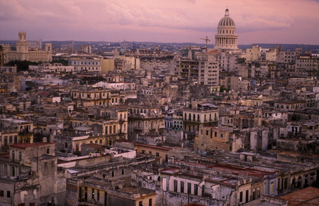 the old town of the city Havana on Cuba in the caribbean sea.