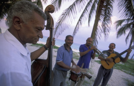 band bar: a salsa Music Band on the coast of Varadero on Cuba in the caribbean sea.