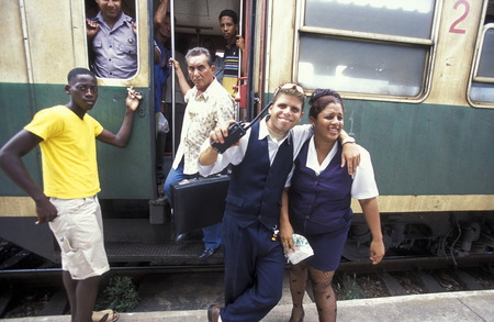 reisen: at the train station the city of Matanzas on Cuba in the caribbean sea.
