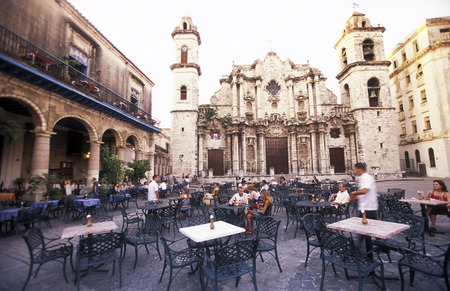 habana: the Plaza de la Catedral in the old town of the city Havana on Cuba in the caribbean sea. Editorial