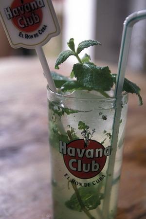 rhum: a mijito in the Bar La Bodeguita del medio in the city of Havana on Cuba in the caribbean sea. Editorial