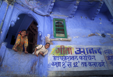 rajasthan: the blue city in the old town of Jodhpur in Rajasthan in India.