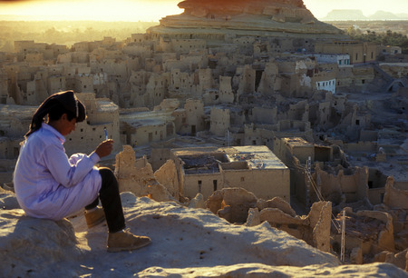 afrika: the village of the oasia of siwa in the sahara desert in Egypt in North Africa. Editorial