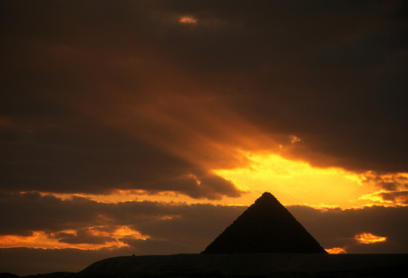 natur: the Pyramids of Giza near the city of Cairo in Egypt in North Africa.