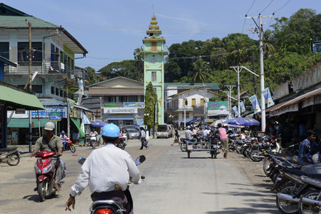 clocktower: the City centre with the Clock Tower in the city of Myeik in the south in Myanmar in Southeastasia. Editorial