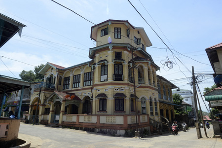 colonial house: a colonial house in the old city of Myeik in the south in Myanmar in Southeastasia.