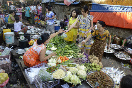 smal: a smal streetmarket in the city of Myeik in the south in Myanmar in Southeastasia. Editorial