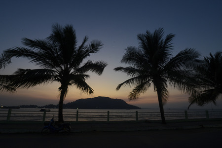 andaman sea: the sunset at the Stand road at the coast of the Andaman sea of Myeik in the south in Myanmar in Southeastasia. Stock Photo
