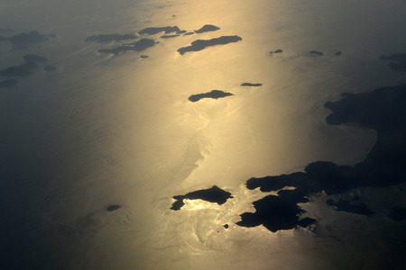 andaman sea: The Landscape airpictures of the Islands on the Andaman Sea near the coastline by the city of Myeik in the south in Myanmar in Southeastasia. Stock Photo