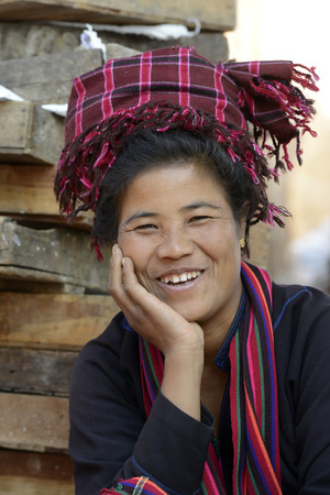 daw: a women at the Market at the Village of Phaung Daw Oo at the Inle Lake in the Shan State in the east of Myanmar in Southeastasia.