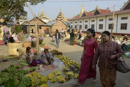 daw: the market at the Village of Phaung Daw Oo at the Inle Lake in the Shan State in the east of Myanmar in Southeastasia.