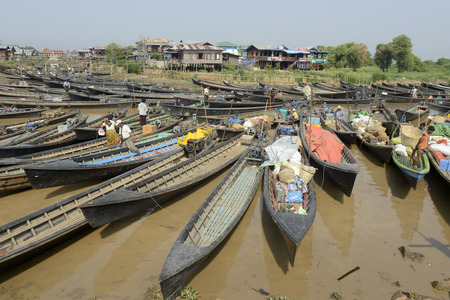 daw: the Boat Harbour at the Village of Phaung Daw Oo at the Inle Lake in the Shan State in the east of Myanmar in Southeastasia.