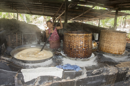 th� ¨: The  Palm sugar production at a Plantation in the Town of Tha Kha in the Province Samut Songkhram west of the city of Bangkok in Thailand in Southeastasia.
