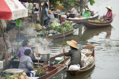 tha: the floating market in the Town of Tha Kha in the Province Samut Songkhram west of the city of Bangkok in Thailand in Southeastasia.