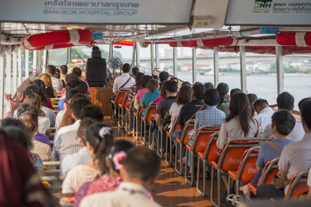 the chao phraya river: a tranport Boat on the Chao Phraya River in Banglamphu in the city of Bangkok in Thailand in Southeastasia.