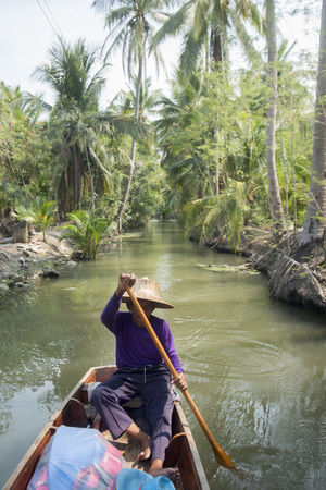 the landscape and rivers allround the Town of Tha Kha in the Province Samut Songkhram west of the city of Bangkok in Thailand in Southeastasia.
