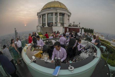 the Sky Bar at the Riverside Aerea in the city of Bangkok in Thailand in Southeastasia.