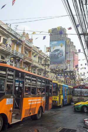 aerea: the city life at the charoen Krung road at the Riverside Aerea in the city of Bangkok in Thailand in Southeastasia.