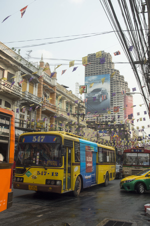 krung: the city life at the charoen Krung road at the Riverside Aerea in the city of Bangkok in Thailand in Southeastasia.