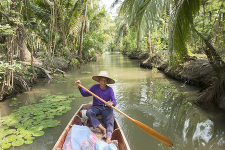 th� ¨: the landscape and rivers allround the Town of Tha Kha in the Province Samut Songkhram west of the city of Bangkok in Thailand in Southeastasia.
