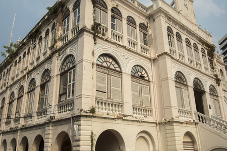 the colonial architection at the Oriental Ferry station at the Riverside Aerea in the city of Bangkok in Thailand in Southeastasia.