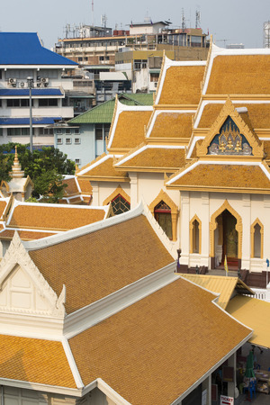 wat traimit: The Temple Wat Traimit in the China Town of Bangkok in Thailand in Southeastasia.