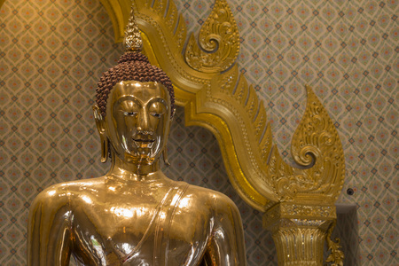 wat traimit: The Gold Buddha at the Temple Wat Traimit in the China Town of Bangkok in Thailand in Southeastasia.