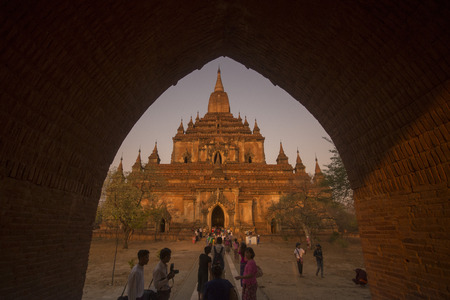 that: the That byin nyu Temple in Bagan in Myanmar in Southeastasia. Editorial